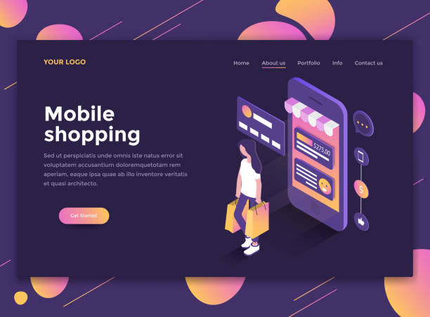 flat modern design of website template - mobile shopping - handel detaliczny stock illustrations