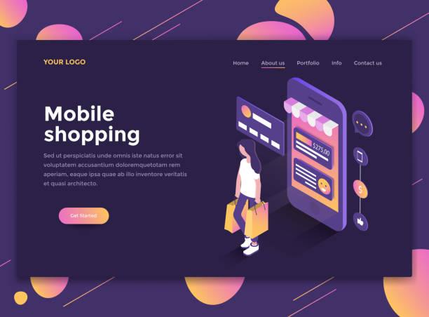 flat modern design of website template - mobile shopping - online shopping stock illustrations