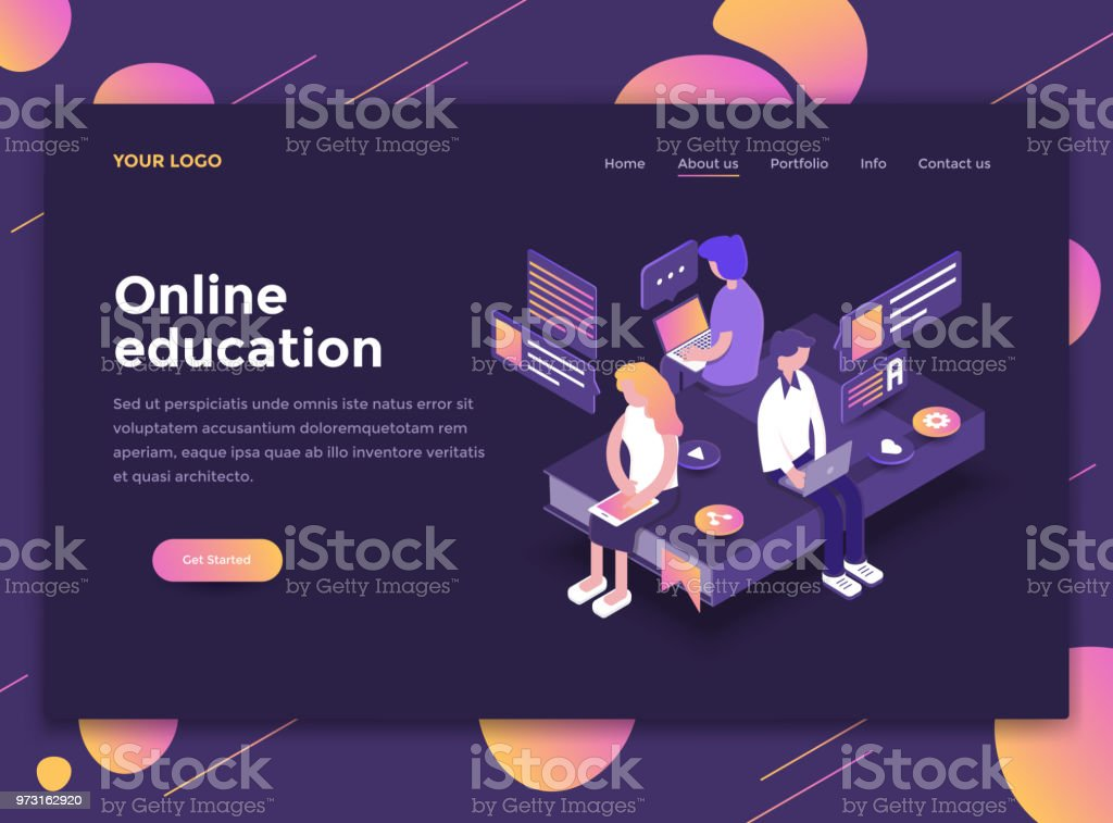 モダンなデザインのホームページ テンプレート - オンライン教育 ベクターアートイラスト