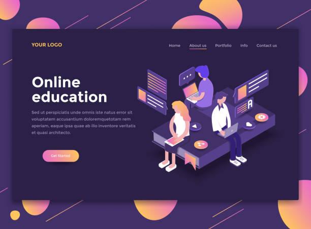 モダンなデザインのホームページ テンプレート - オンライン教育 - 語学の授業点のイラスト素材/クリップアート素材/マンガ素材/アイコン素材