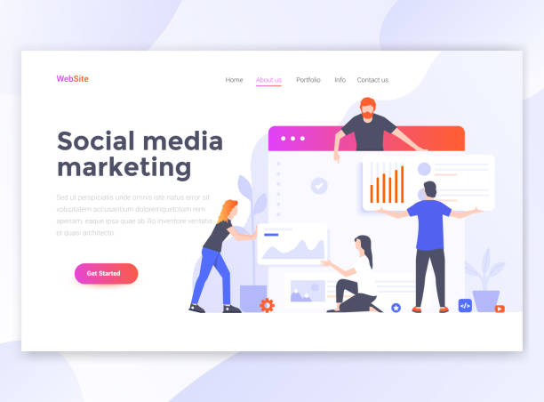 Flat Modern design of website template - Social media marketing Landing page template of Social media marketing. Modern flat design concept of web page design for website and mobile website. Easy to edit and customize. Vector illustration seo stock illustrations