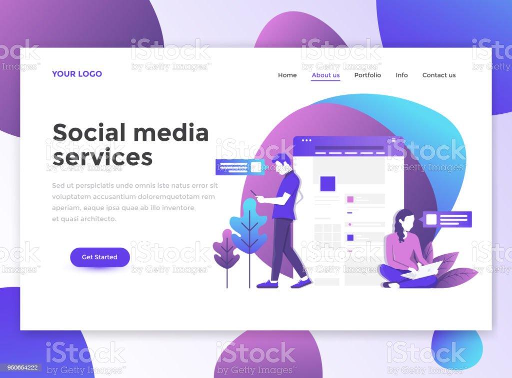 flat modern design of website template social media services stock