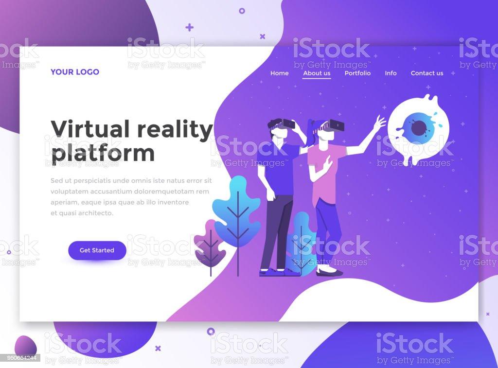 Flat Modern design of website template - Virtual reality platform vector art illustration
