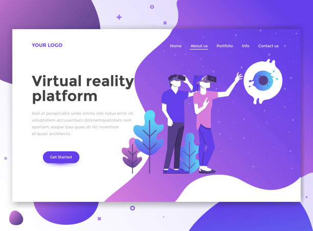 Flat Modern design of website template - Virtual reality platform Landing page template of Virtual Reality platform. Modern flat design concept of web page design for website and mobile website. Easy to edit and customize. Vector illustration vr stock illustrations
