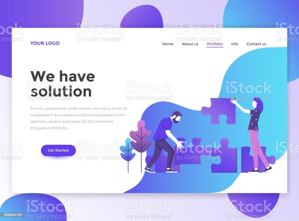 Flat Modern Design Of Website Template We Have Solution Stock Vector ...