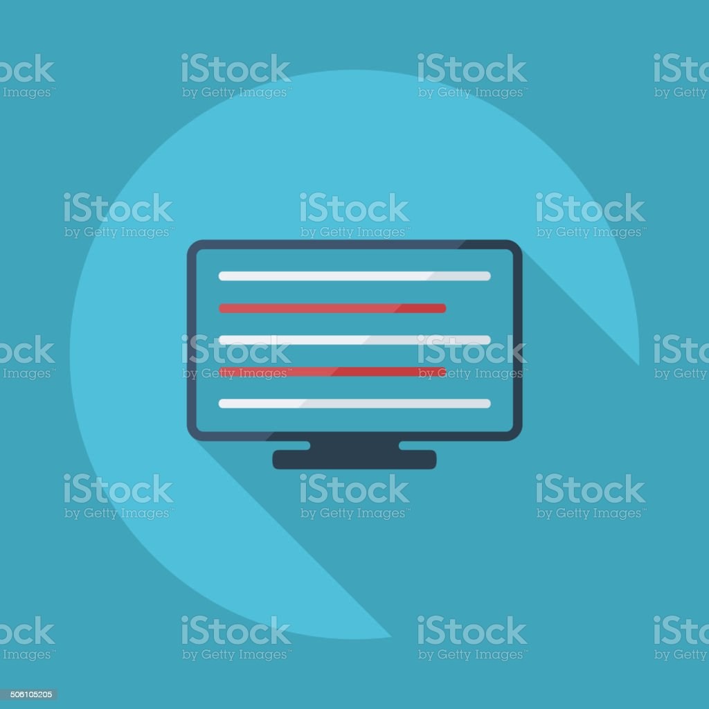 Flat modern design with shadow vector icons: computer monitor royalty-free stock vector art