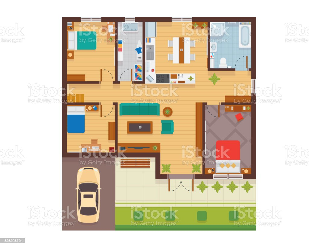 Flat Modern Family House Interior And Room Spaces Floor Plan From Top View  Illustration Royalty