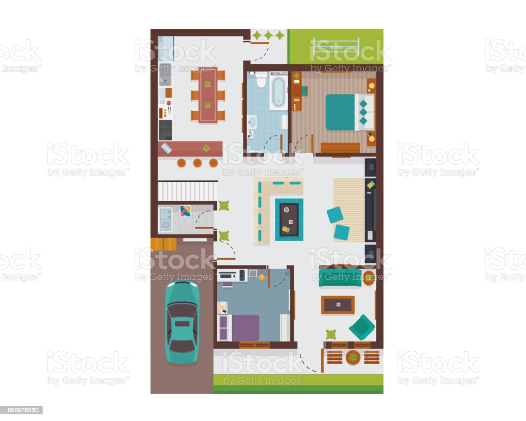 Flat modern family house interior and room spaces floor plan from top view illustration illustration