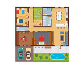 Flat Modern Family House Interior And Room Spaces Floor Plan From Top View Illustration Showing Living Room, Dining Room, Kitchen, Bedroom, Family Room, and Garage.
