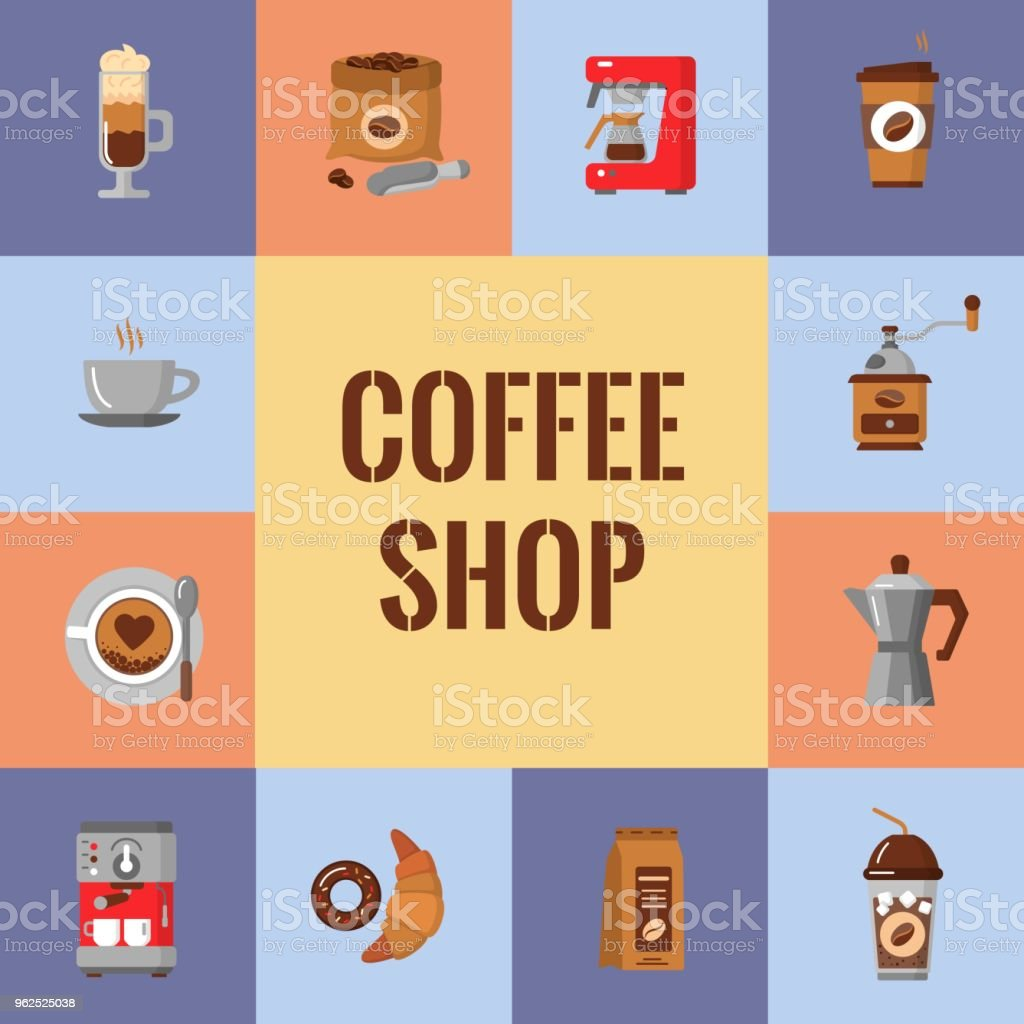 Flat modern icons for coffee shop. Vector illustration - Royalty-free Bar Counter stock vector