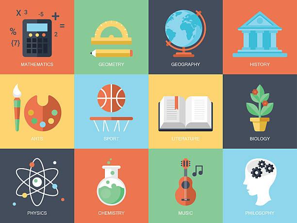 ilustrações, clipart, desenhos animados e ícones de tv moderno e ícones de educação e de profissões - aula de ciências
