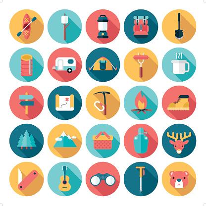 flat modern outdoor activities icon set
