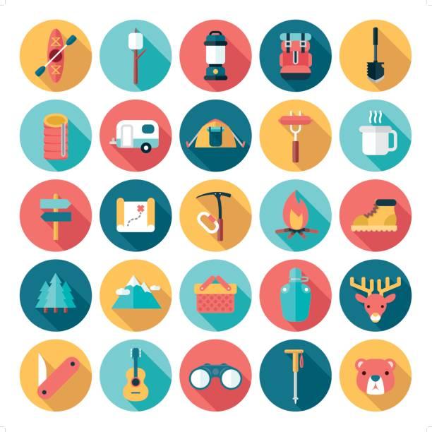 icon-set flach moderne outdoor-aktivitäten - zeltausrüstung stock-grafiken, -clipart, -cartoons und -symbole