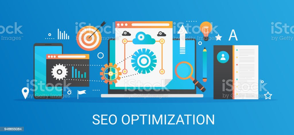 Flat modern vector concept Seo optimization and analytics banner with icons and text. - ilustração de arte vetorial