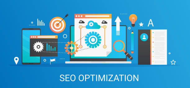 Flat modern vector concept Seo optimization and analytics banner with icons and text. Flat modern vector concept Seo optimization and analytics banner with icons and text seo stock illustrations