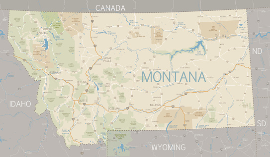 A flat Montana state map and surroundings