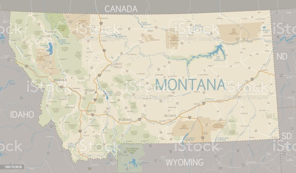 A flat Montana state map and surroundings vector art illustration