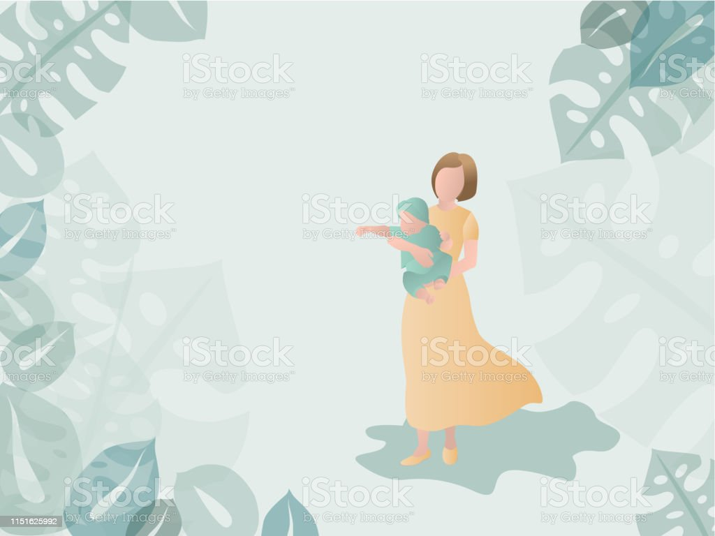 Flat Mother With Child On Hands Walking On Green Background Vector Illustration Parenting Or Motherhood Concept Stock Illustration Download Image Now Istock