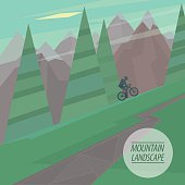 Spring picturesque mountain landscape with steep slopes and winding road cyclist riding upstairs, in the fashionable flat style and square ratio