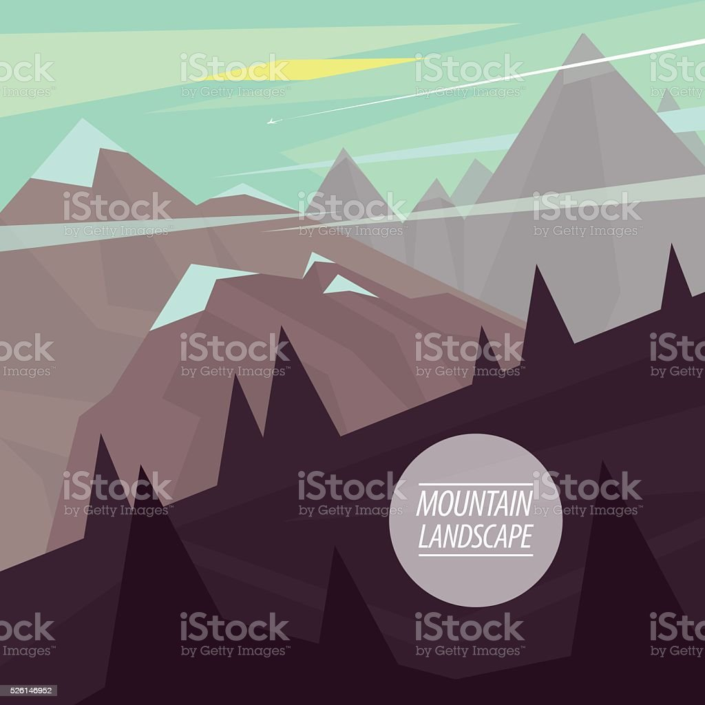 Flat mountain landscape with steep slopes vector art illustration