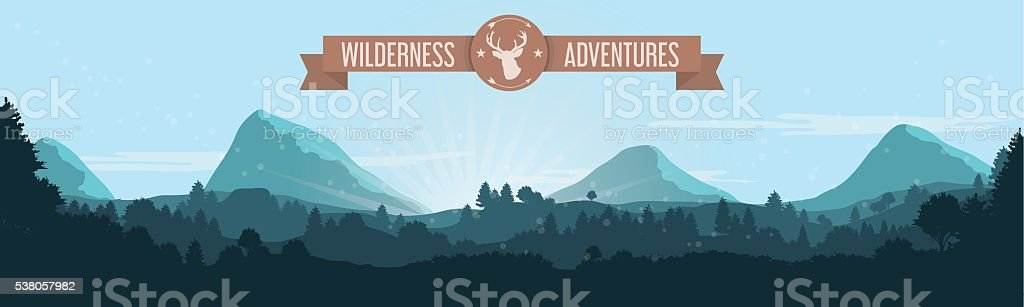 Flat Mountain Treeline Landscape with Ribbon and Deer Logo vector art illustration