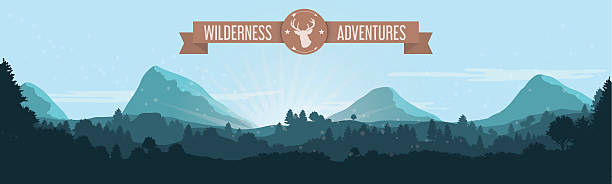 Flat Mountain Treeline Landscape with Ribbon and Deer Logo Blue flat landscape design with Wilderness Adventures ribbon and deer silhouette logo. treelined stock illustrations