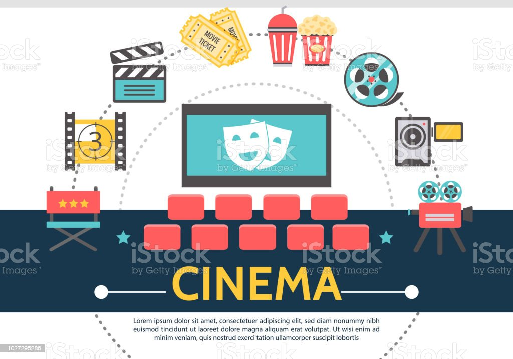 Flat Movie Template royalty-free flat movie template stock illustration - download image now