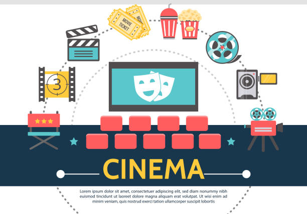 flat movie template - arts culture and entertainment stock illustrations, clip art, cartoons, & icons