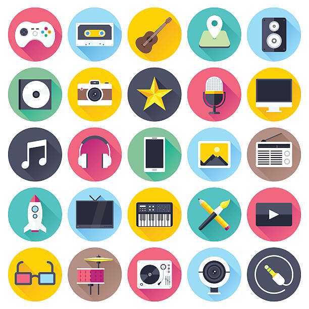 マルチメディアアイコンフラット - ゲーム ヘッドフォン点のイラスト素材/クリップアート素材/マンガ素材/アイコン素材
