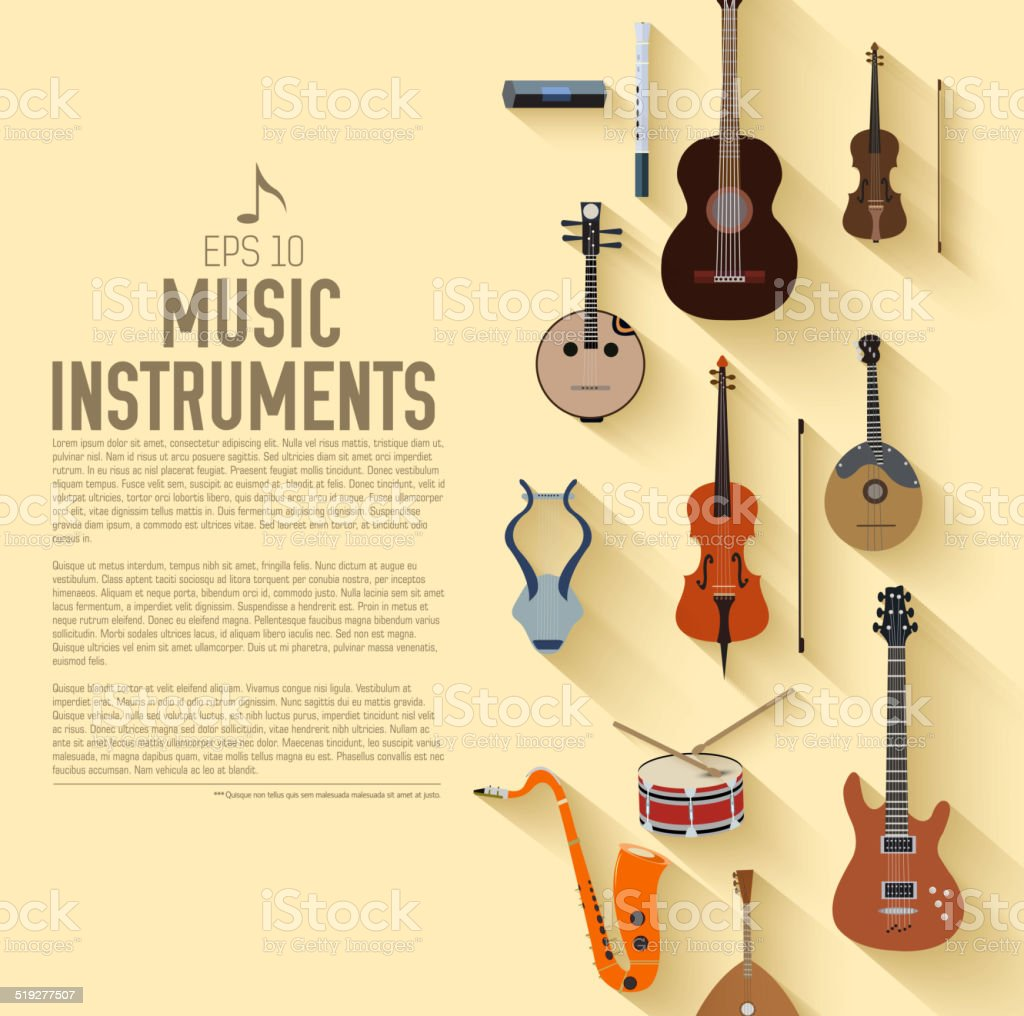 flat music instruments icon set vector art illustration