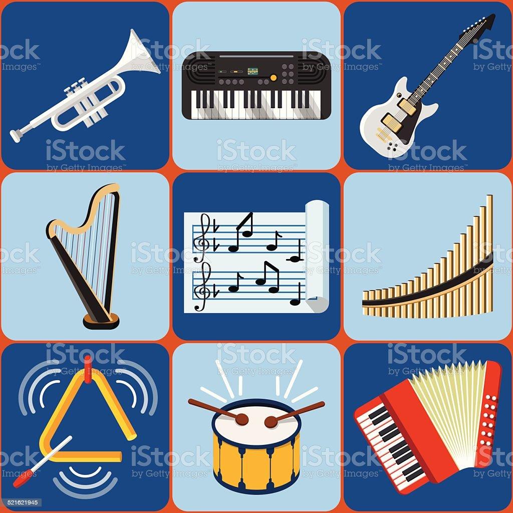 Flat Music Instruments - ilustración de arte vectorial