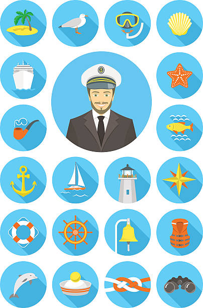 illustrazioni stock, clip art, cartoni animati e icone di tendenza di piatto icone nautica con giovane attraente capitano - immerse in the stars