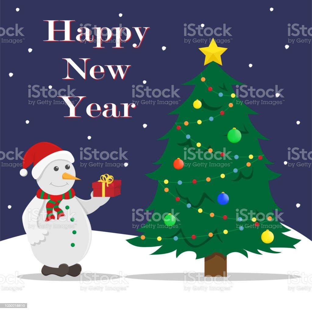 Flache Neujahrs Vektorillustration Mit Einem Weihnachtsbaum Geschenk ...
