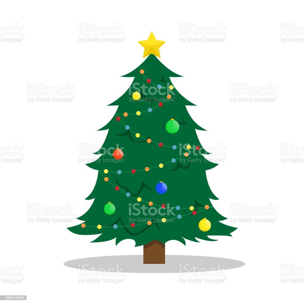 Vlakke New Year's vectorillustratie met een kerstboom. - Royalty-free Achtergrond - Thema vectorkunst
