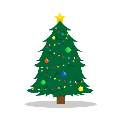 Flat New Year's vector illustration with a Christmas tree.