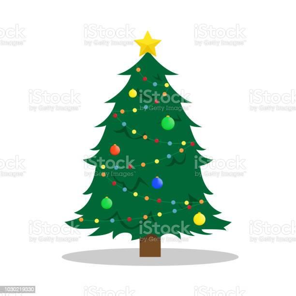 Flache Neujahrs Vektorillustration Mit Einem Weihnachtsbaum Stock Vektor Art und mehr Bilder von Baum