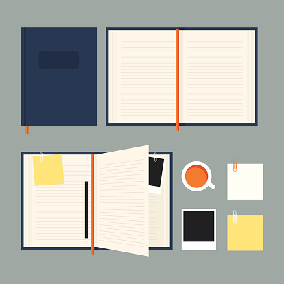 Flat Notebook Set Stock Illustration - Download Image Now