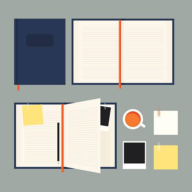 Flat notebook set Flat notebook set (EPS 10) diary stock illustrations
