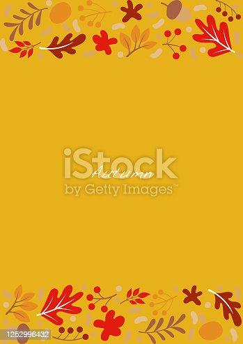 Flat oak leaves , flower, fern,nut and berry frame vector on yellow background for decoration on autumn season festival and Thanksgiving.