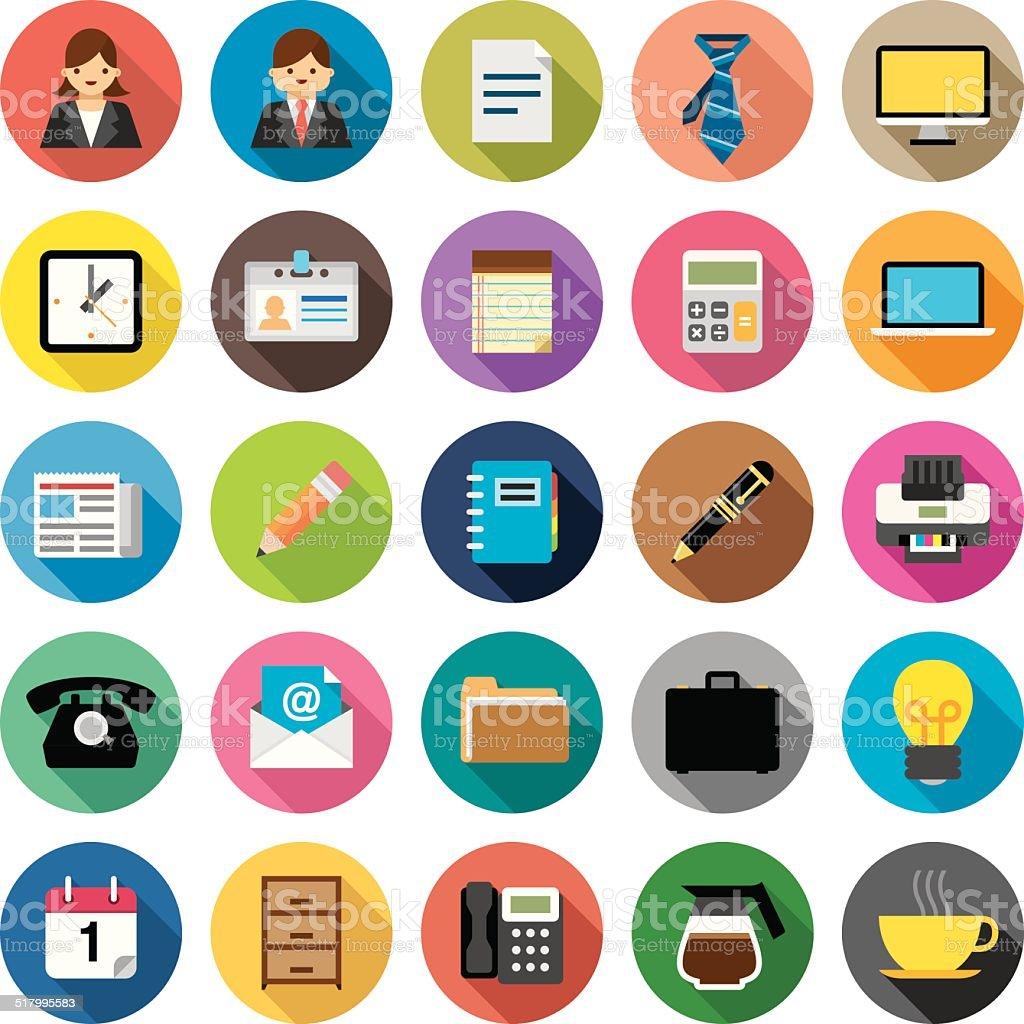 Flat Office & Business icons | Kalaful series vector art illustration