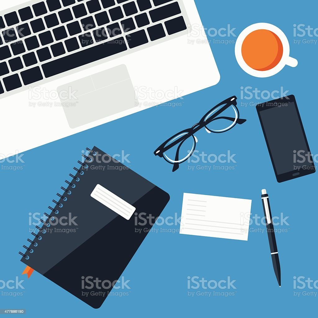 Flat Office desk vector art illustration