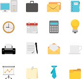 Simple, flat, cartoon style office & business icon set for your web page, interactive, presentation, print, and all sorts of design need.