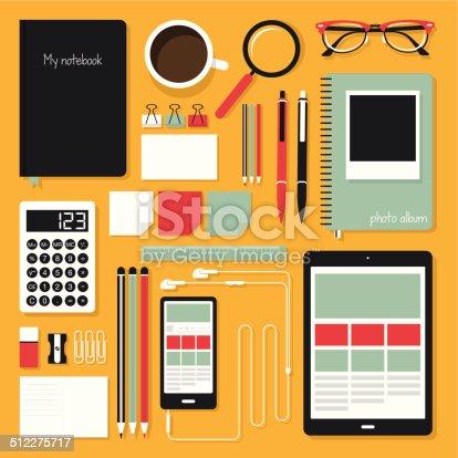 istock Flat Office Tools 512275717