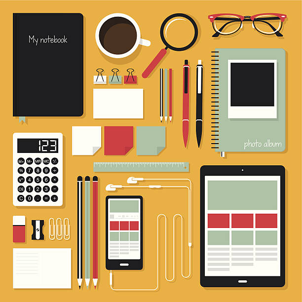 평편 office 도구 - 클립 문구류 stock illustrations