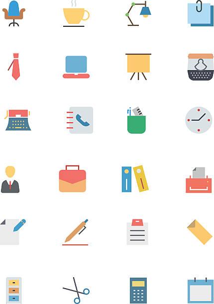 flache vektor-icons 1 büro - laptoptaschen stock-grafiken, -clipart, -cartoons und -symbole