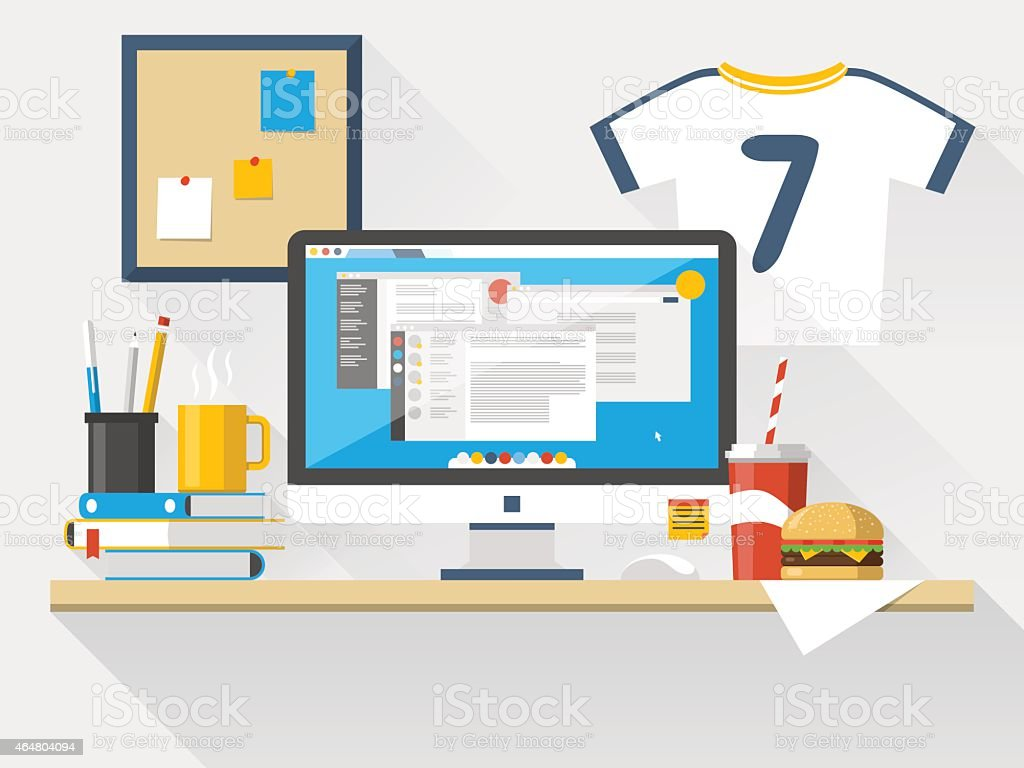 Flat office workspace, workplace vector art illustration