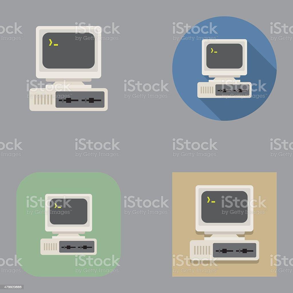 TV antiga Vintage computador icons/Kalaful series - ilustração de arte em vetor
