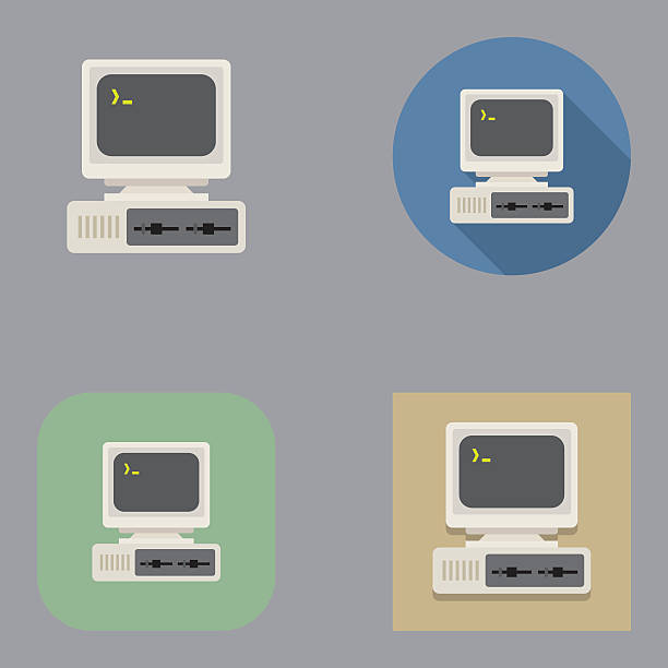 flat old vintage computer icons | kalaful series - eski stock illustrations