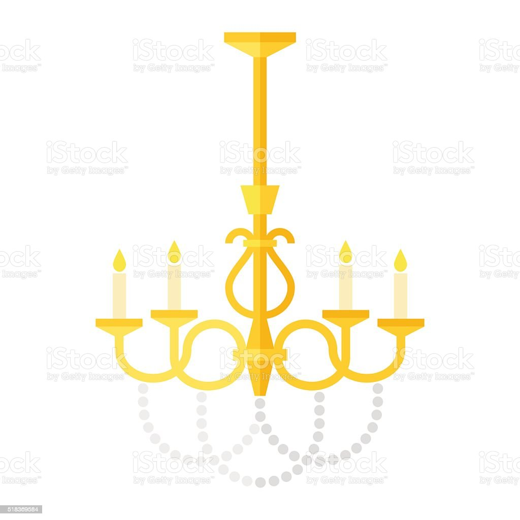 flat old-fashioned chandelier vector art illustration