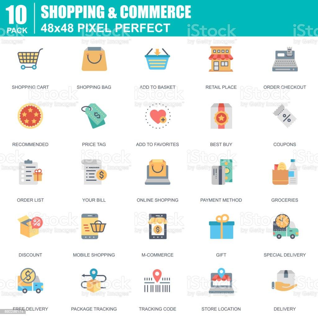 Flat online shopping and e-commerce icons set for website vector art illustration